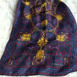 Ellen Tracy 100% Silk Scarf purple Made in Japan